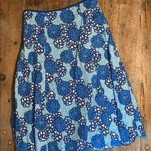 Boden A-Line Full Skirt 10r Blue Flowers